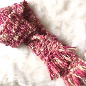 Wool blend twisted knit scarf